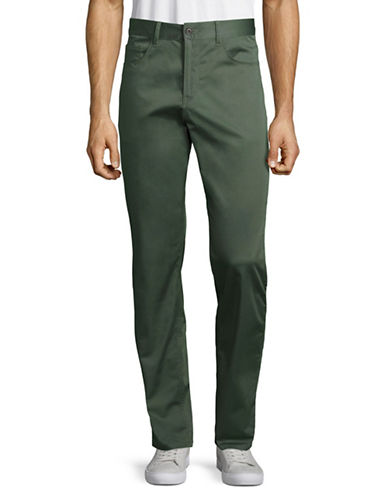 Perry Ellis Slim Sateen Chino Pants-GREEN-38 Regular