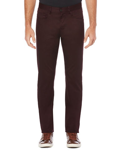 Perry Ellis Slim-Fit Sateen Pants-RED-34X32