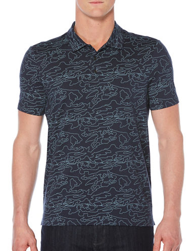 Perry Ellis Camouflage Print Polo-BLUE-Large