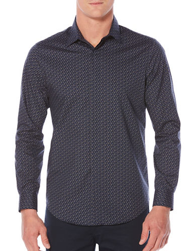 Perry Ellis Geo Print Sport Shirt-BLUE-Large