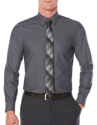 Perry Ellis Travel Luxe Luxury Twill Shirt-BLUE-Medium