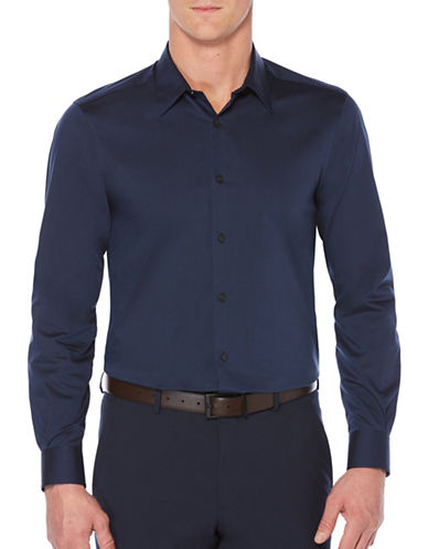 Perry Ellis Travel Luxury Twill Shirt-BLUE-X-Large