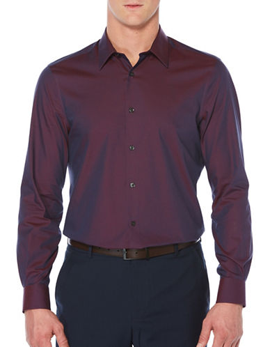 Perry Ellis Travel Luxury Twill Shirt-PURPLE-Small