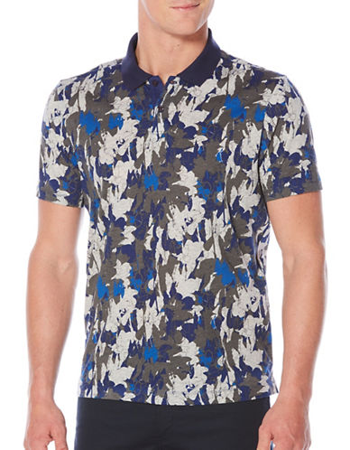 Perry Ellis Abstract Floral Polo-BLUE-X-Large
