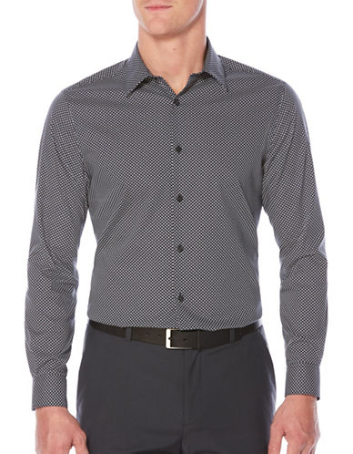 Perry Ellis Mini Dot Sport Shirt-BLUE-Medium