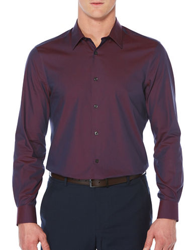 Perry Ellis Big & Tall Luxury Twill Sport Shirt-PURPLE-2X Big