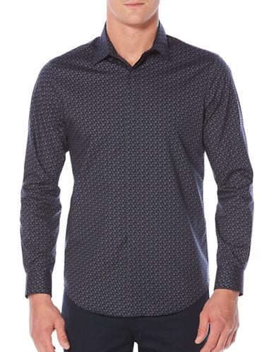 Perry Ellis Big & Tall Geo Print Sport Shirt-BLUE-X-Large