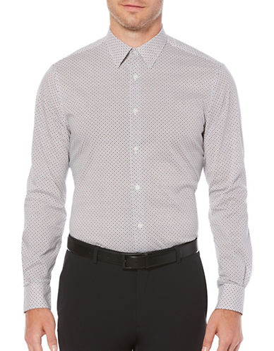 Perry Ellis Mini Dot Print Shirt-WHITE-4X Big