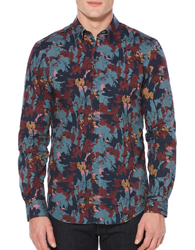 Perry Ellis Big & Tall Abstract Floral Sport Shirt-BLUE-4X Tall