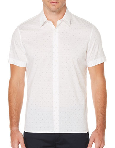 Perry Ellis Big And Tall Dot Sport Shirt-WHITE-Large