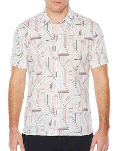 Perry Ellis Linear Print Sport Shirt-WHITE-4X Big
