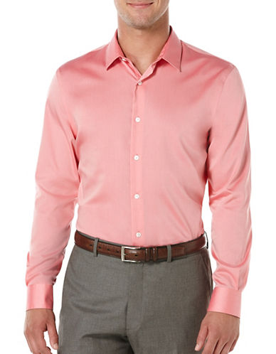 Perry Ellis Big and Tall Dobby Twill Shirt-PINK-2X Tall