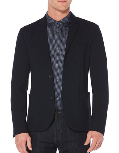 Perry Ellis Slim Textured Knit Sportcoat-BLUE-X-Large