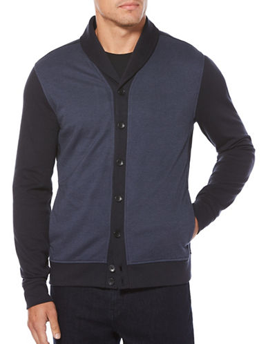 Perry Ellis Long Sleeve Cardigan-BLUE-Large