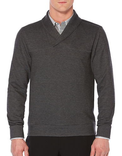 Perry Ellis Shawl Collared Cardigan-BLACK-Large