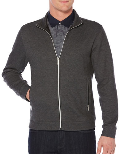 Perry Ellis Plaited Knit Jacket-BLACK-Medium