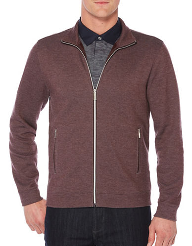 Perry Ellis Plaited Knit Jacket-RED-Large 89450835_RED_Large