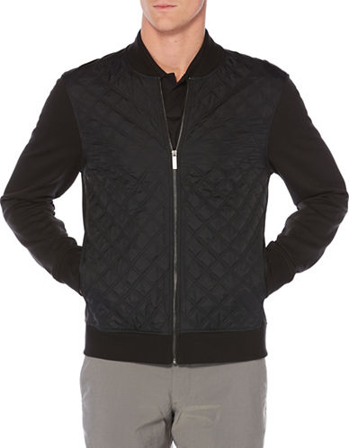 Perry Ellis Full Zip Knitted Jacket-BLACK-Large