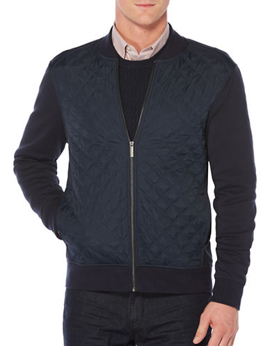 Perry Ellis Full Zip Knitted Jacket-BLUE-Large