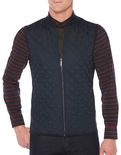 Perry Ellis Pointe Zip Vest-BLUE-X-Large