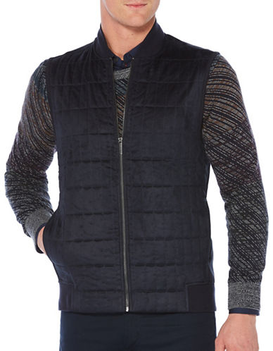 Perry Ellis Full Zip Faux Suede Vest-BLUE-X-Large