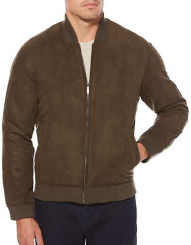 Perry Ellis Faux Suede Bomber Jacket-BROWN-Small