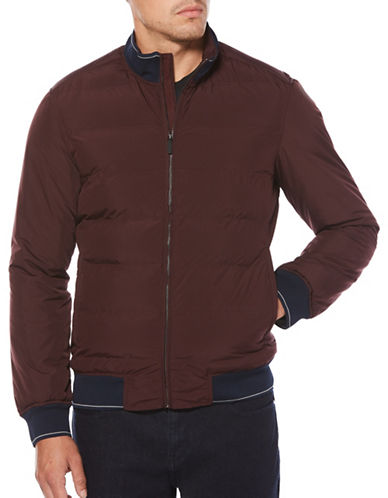 Perry Ellis Quilted Puffer Jacket-RED-Small