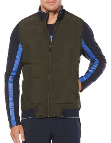 Perry Ellis Quilted Puffer Vest-GREEN-X-Large