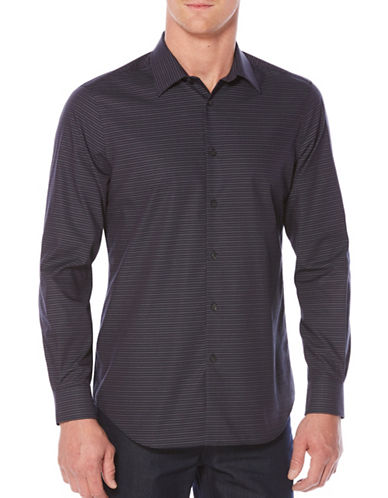 Perry Ellis Check Sport Shirt-BLUE-Large