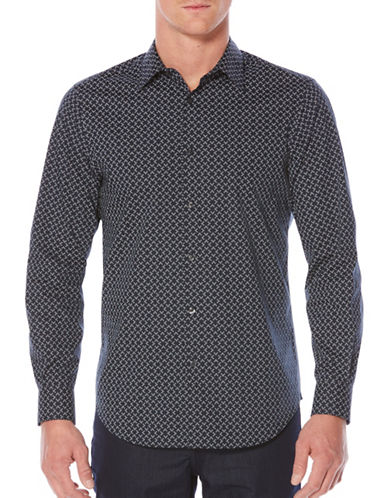 Perry Ellis Arrowhead Sport Shirt-BLUE-Small