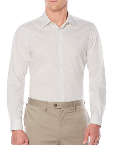 Perry Ellis Woven Sport Shirt-WHITE-Large