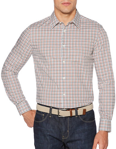 Perry Ellis Check Pattern Sport Shirt-WHITE-X-Large