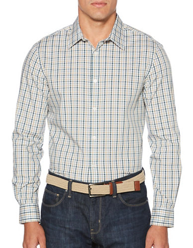Perry Ellis Plaid Button-Down Shirt-BEIGE-Small