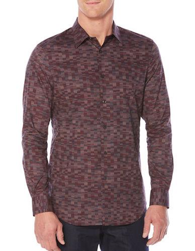 Perry Ellis Printed Sport Shirt-BROWN-X-Large