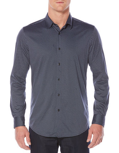 Perry Ellis Diamond Print Sport Shirt-BLUE-Large
