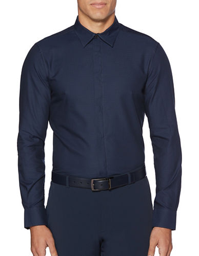 Perry Ellis Iridescent Scale Cotton Sport Shirt-BLUE-Small