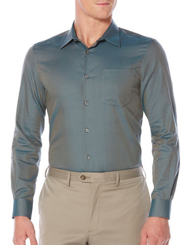 Perry Ellis Iridescent Scale Cotton Sport Shirt-BLUE-XX-Large