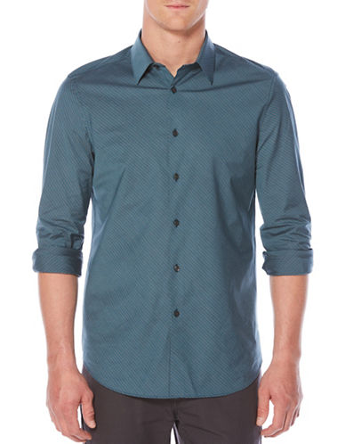 Perry Ellis Diagonal Striped Cotton Sport Shirt-BLUE-XX-Large