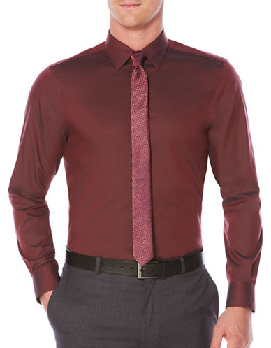 Perry Ellis Travel Luxury Twill Shirt-RED-Medium