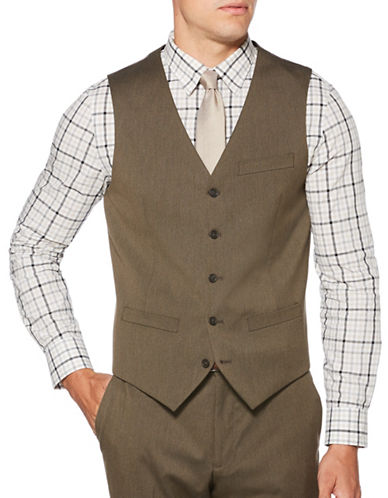 Perry Ellis Texture Suit Vest-BROWN-Medium