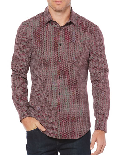 Perry Ellis Paisley Casual Button-Down Shirt-RED-Medium