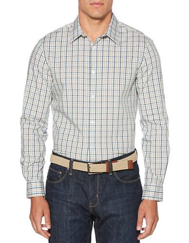 Perry Ellis Plaid Sport Shirt-BEIGE-4X Tall