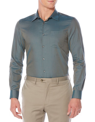 Perry Ellis Iridescent Scale Jacquard Sportshirt-BLUE-2X Tall