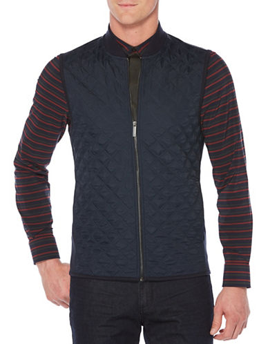 Perry Ellis Quilted Zip-Front Vest-BLUE-2X Tall