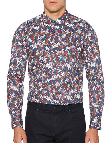 Perry Ellis Pixelated Print Sport Shirt-BLUE-Medium