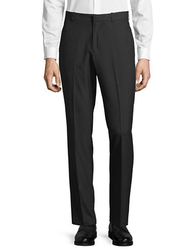 Perry Ellis Slim-Fit Fine Basketweave Dress Pants-GREY-36X30