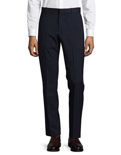 Perry Ellis Slim-Fit Tonal Check Dress Pants-BLUE-38X32
