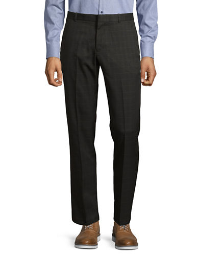 Perry Ellis Slim-Fit Windowpane Dress Pants-BROWN-36X32