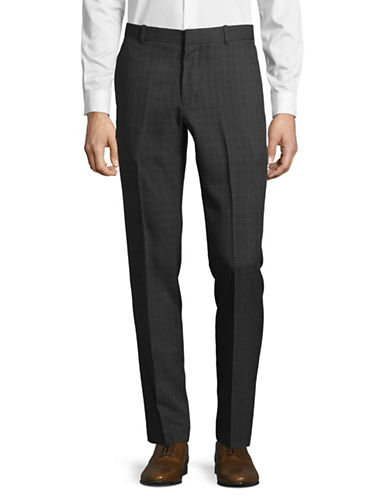 Perry Ellis Slim-Fit Tonal Plaid Dress Pants-GREY-36X32