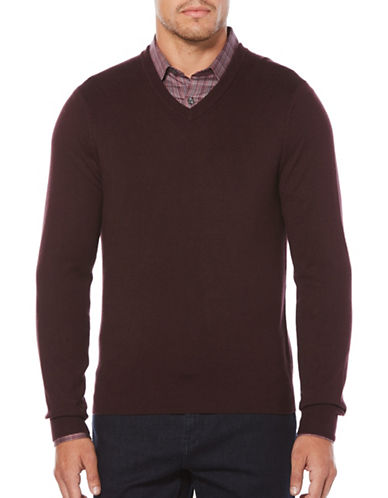 Perry Ellis V-Neck Textured Sweater-RED-Large